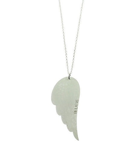 Hand Stamped Angel Wing Necklace Apparel & Accessories > Jewelry > Necklaces - 1