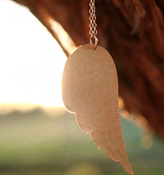 Hand Stamped Angel Wing Necklace Apparel & Accessories > Jewelry > Necklaces - 2