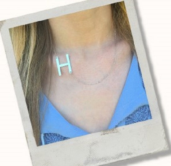 Large Sideways Initial Necklace - Lisa Stewart Apparel & Accessories > Jewelry > Necklaces - 2