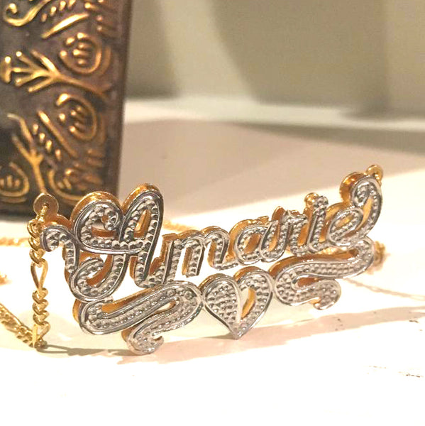 Custom 3D Double Plated Cutout Name Necklace 7