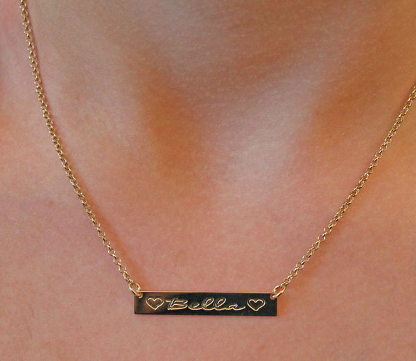 Gold Engraved Horizontal Bar Necklace-Purple Mermaid Designs Apparel & Accessories > Jewelry > Necklaces - 11
