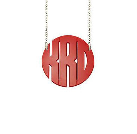 Acrylic Block Monogram Split Chain Necklace-Purple Mermaid Designs Apparel & Accessories > Jewelry > Necklaces - 1