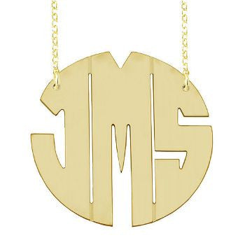 Gold Block Monogram Necklace by Purple Mermaid Designs Apparel & Accessories > Jewelry > Necklaces
