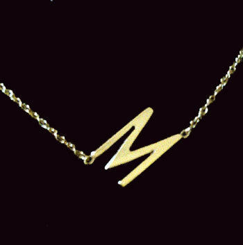 Gold Sideways Initial Necklace~Rope Chain by Purple Mermaid Designs Apparel & Accessories > Jewelry > Necklaces - 5