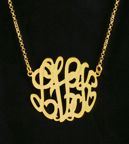Petite Gold Monogram Necklace by Purple Mermaid Designs Apparel & Accessories > Jewelry > Necklaces