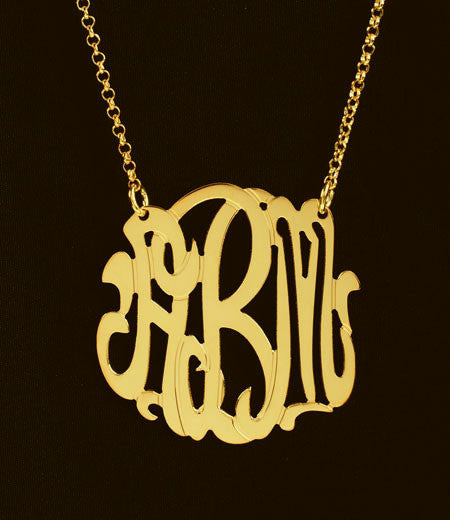 Gold Monogram Necklace-1 1/4 Inch-Purple Mermaid Designs Apparel & Accessories > Jewelry > Necklaces