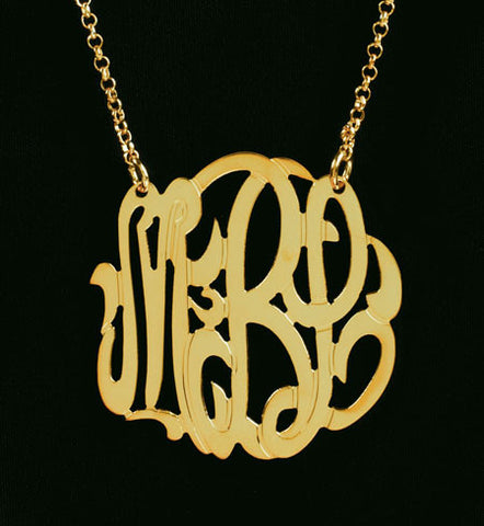 Gold Monogram Necklace-1 1/2 Inch-Purple Mermaid Designs Apparel & Accessories > Jewelry > Necklaces