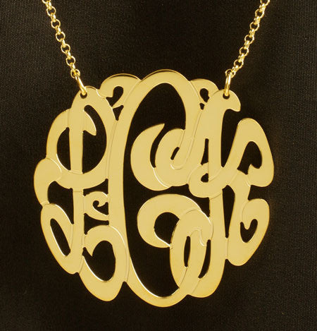 Gold Monogram Necklace-1 3/4 Inch-Purple Mermaid Designs Apparel & Accessories > Jewelry > Necklaces
