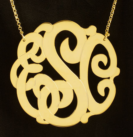 Gold Monogram Necklace-2 Inch-Purple Mermaid Designs Apparel & Accessories > Jewelry > Necklaces