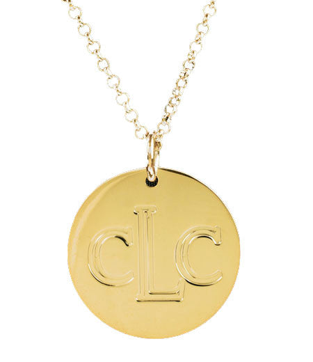 Gold Engraved Disc Necklace by Purple Mermaid Designs Apparel & Accessories > Jewelry > Necklaces - 1