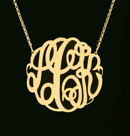 Big Slim Gold Monogram Necklace by Purple Mermaid Designs Apparel & Accessories > Jewelry > Necklaces - 9