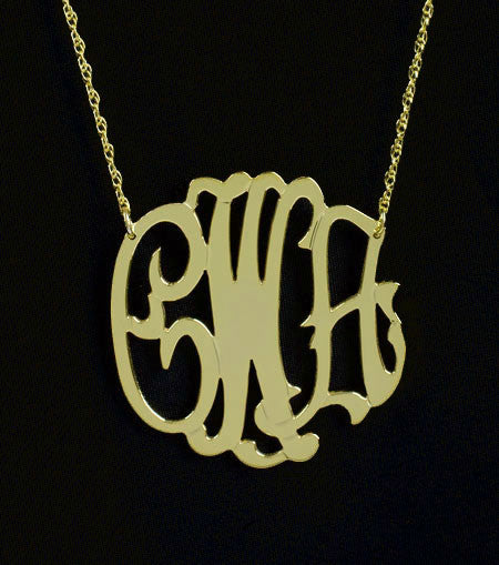 Gold Filled Monogram Necklace-Medium-Purple Mermaid Designs Apparel & Accessories > Jewelry > Necklaces