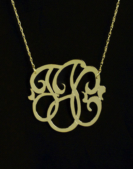 Gold Filled Monogram Necklace-Small-Purple Mermaid Designs Apparel & Accessories > Jewelry > Necklaces