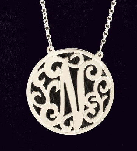 Sterling Silver Rimmed Lace Initial Necklace by Purple Mermaid Designs Apparel & Accessories > Jewelry > Necklaces