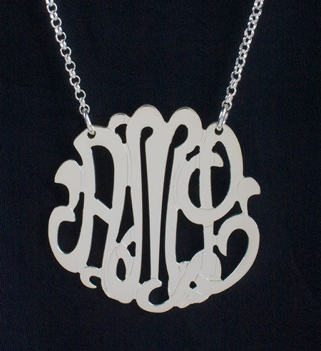 Sterling Silver Monogram Necklace-1 1/2 Inch-Purple Mermaid Designs Apparel & Accessories > Jewelry > Necklaces