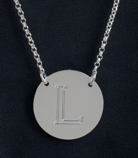 Sterling Silver Engraved Initial Necklace by Purple Mermaid Designs Apparel & Accessories > Jewelry > Necklaces