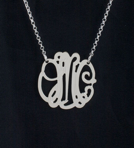 Petite Sterling Silver Monogram Necklace by Purple Mermaid Designs Apparel & Accessories > Jewelry > Necklaces