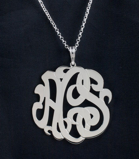 Sterling Silver 3 Initial Monogram Necklace by Purple Mermaid Designs Apparel & Accessories > Jewelry > Necklaces