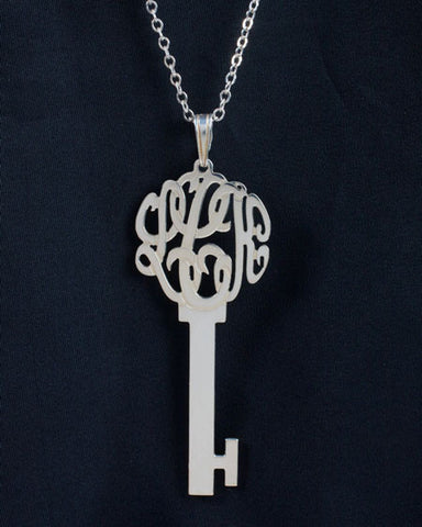 Sterling Silver Monogram Key Necklace by Purple Mermaid Designs Apparel & Accessories > Jewelry > Necklaces