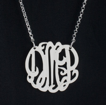 1 Inch Sterling Silver Monogram Necklace by Purple Mermaid Designs Apparel & Accessories > Jewelry > Necklaces