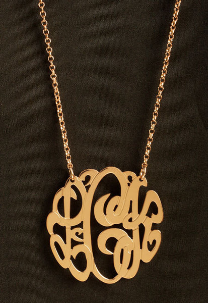 Rose Gold Monogram Necklace by Purple Mermaid Designs Apparel & Accessories > Jewelry > Necklaces - 2