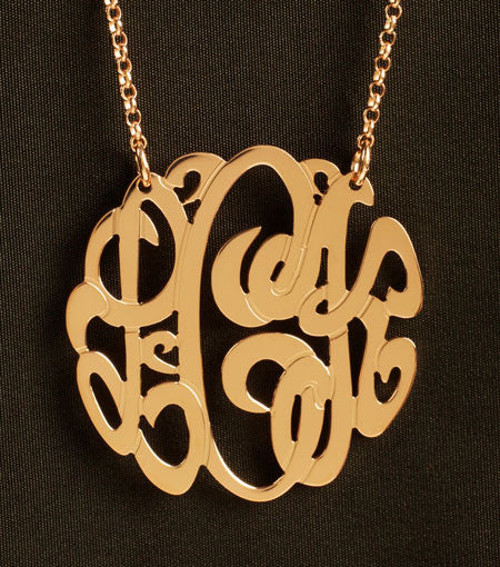 Rose Gold Monogram Necklace by Purple Mermaid Designs Apparel & Accessories > Jewelry > Necklaces - 1