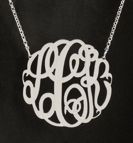 Big Slim Sterling Silver Monogram Necklace by Purple Mermaid Designs Apparel & Accessories > Jewelry > Necklaces - 2