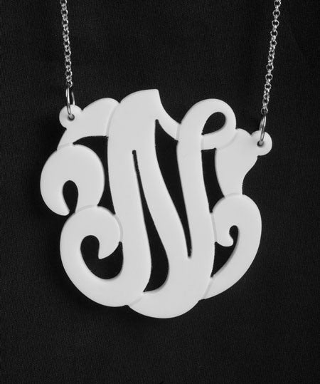 Acrylic Swirly Initial Necklace by Purple Mermaid Designs Apparel & Accessories > Jewelry > Necklaces - 1