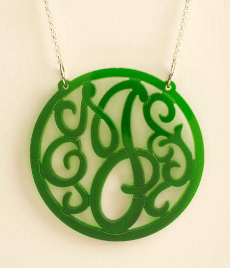 Acrylic Rimmed Initial Necklace by Purple Mermaid Designs Apparel & Accessories > Jewelry > Necklaces - 2