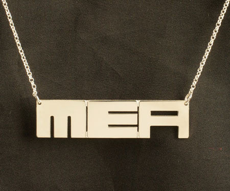 Sterling Silver Block Initials Necklace by Purple Mermaid Designs Apparel & Accessories > Jewelry > Necklaces - 1