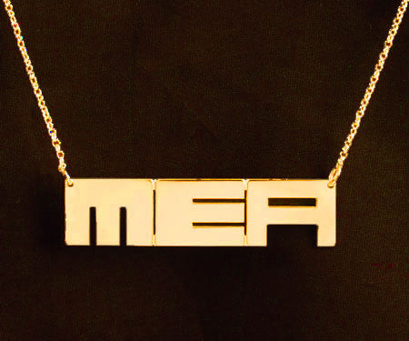 Sterling Silver Block Initials Necklace by Purple Mermaid Designs Apparel & Accessories > Jewelry > Necklaces - 2