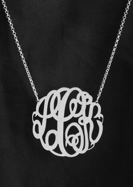 Big Slim Gold Monogram Necklace by Purple Mermaid Designs Apparel & Accessories > Jewelry > Necklaces - 5