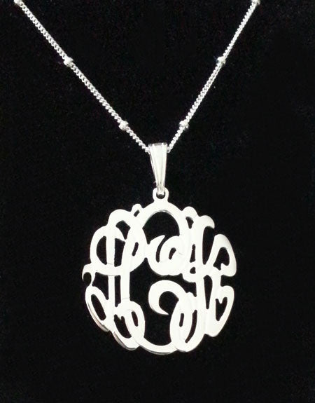 Silver Monogram Satellite Chain Necklace-Purple Mermaid Designs Apparel & Accessories > Jewelry > Necklaces