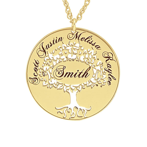 Cutout Family Tree Mothers Necklace-Alison and Ivy Apparel & Accessories > Jewelry > Necklaces - 1