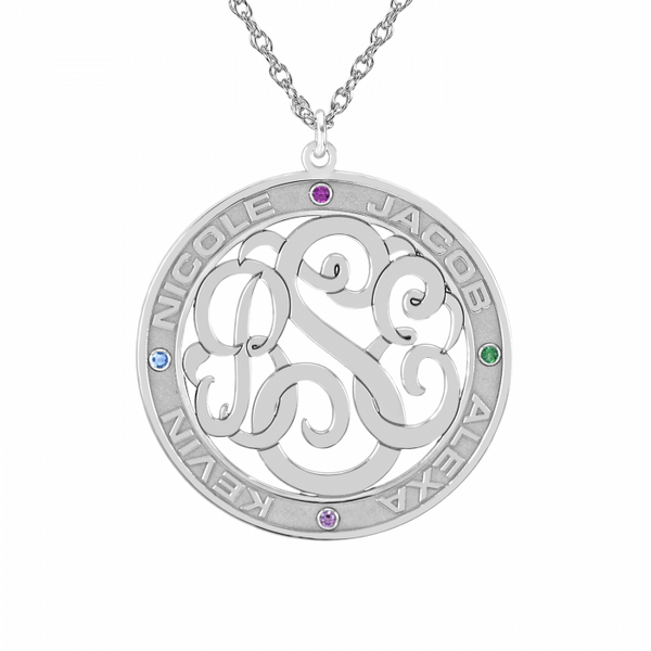 Classic Border Round Cutout Monogram Birthstone Necklace Apparel & Accessories > Jewelry > Necklaces - 1