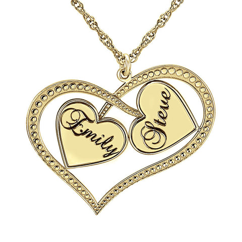 Personalized Interlocking Hearts Necklace Apparel & Accessories > Jewelry > Necklaces - 1
