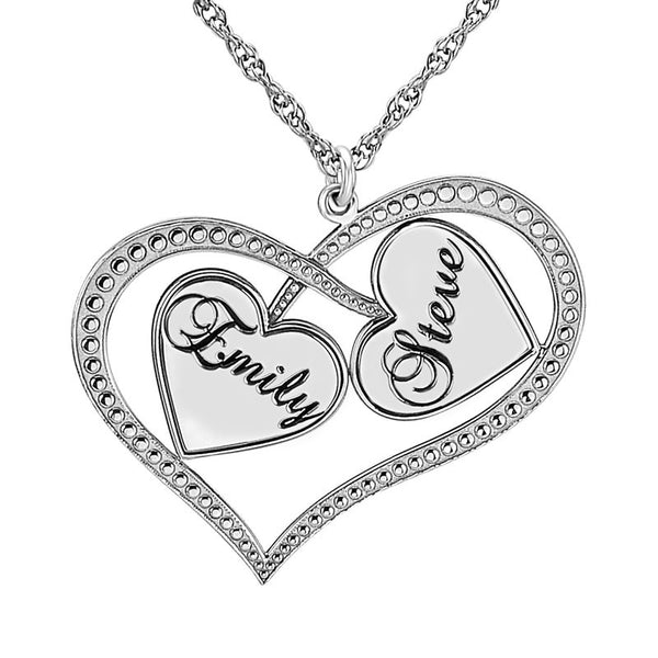 Personalized Interlocking Hearts Necklace Apparel & Accessories > Jewelry > Necklaces - 2