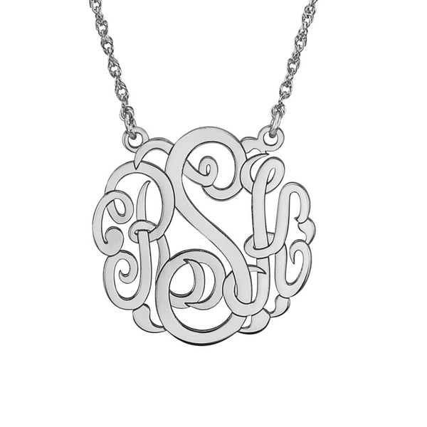Classic Script Mini Monogram Necklace-Alison and Ivy Apparel & Accessories > Jewelry > Necklaces - 2