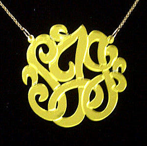 Acrylic Monogram Necklace on Split Chain by Purple Mermaid Designs Apparel & Accessories > Jewelry > Necklaces - 4