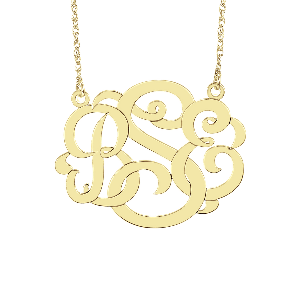 Classic Wide Monogram Necklace-Alison and Ivy Apparel & Accessories > Jewelry > Necklaces - 1