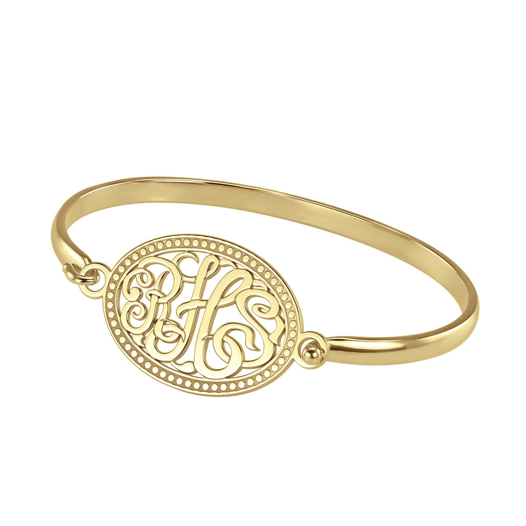 Classic Rope Rimmed Oval Monogram Bangle Bracelet Apparel & Accessories > Jewelry > Bracelets - 1