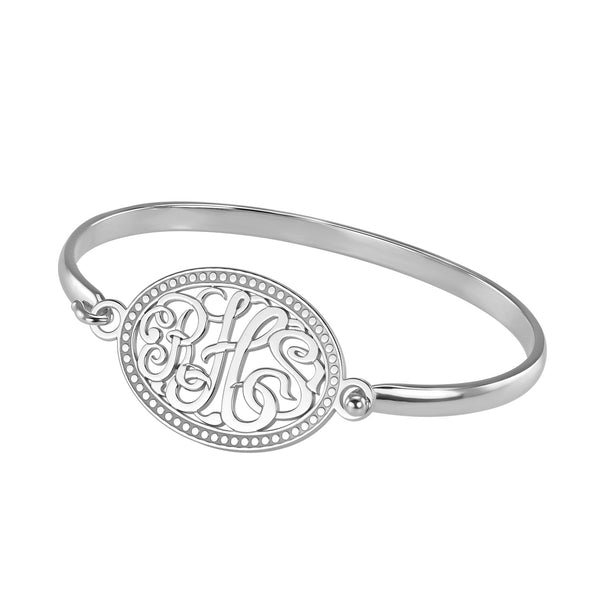 Classic Rope Rimmed Oval Monogram Bangle Bracelet Apparel & Accessories > Jewelry > Bracelets - 2