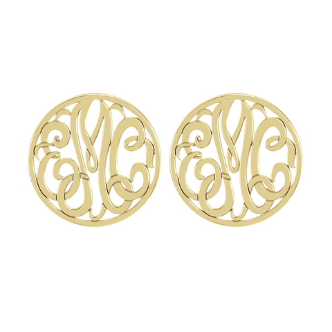 Classic Rimmed Monogram Stud Earrings Apparel & Accessories > Jewelry > Earrings - 1