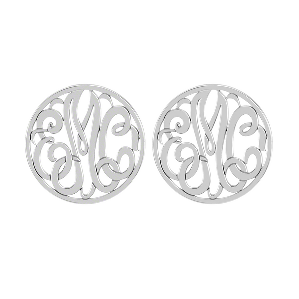 Classic Rimmed Monogram Stud Earrings Apparel & Accessories > Jewelry > Earrings - 2