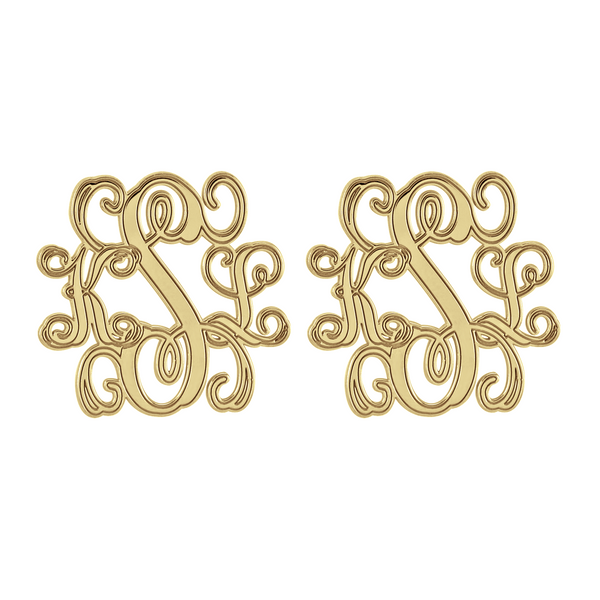 Interlocking Script Monogram Stud Earrings Apparel & Accessories > Jewelry > Earrings - 1