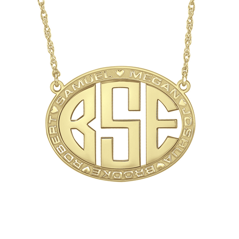 Original Border Oval Monogram Mothers Necklace-Alison and Ivy Apparel & Accessories > Jewelry > Necklaces - 1