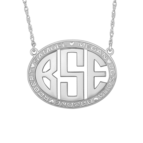 Original Border Oval Monogram Mothers Necklace-Alison and Ivy Apparel & Accessories > Jewelry > Necklaces - 2