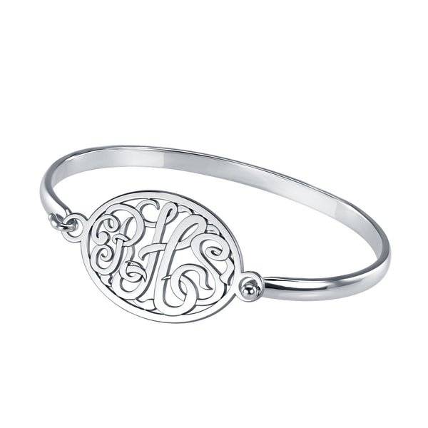 Classic Rimmed Oval Monogram Bangle Bracelet Apparel & Accessories > Jewelry > Bracelets - 2