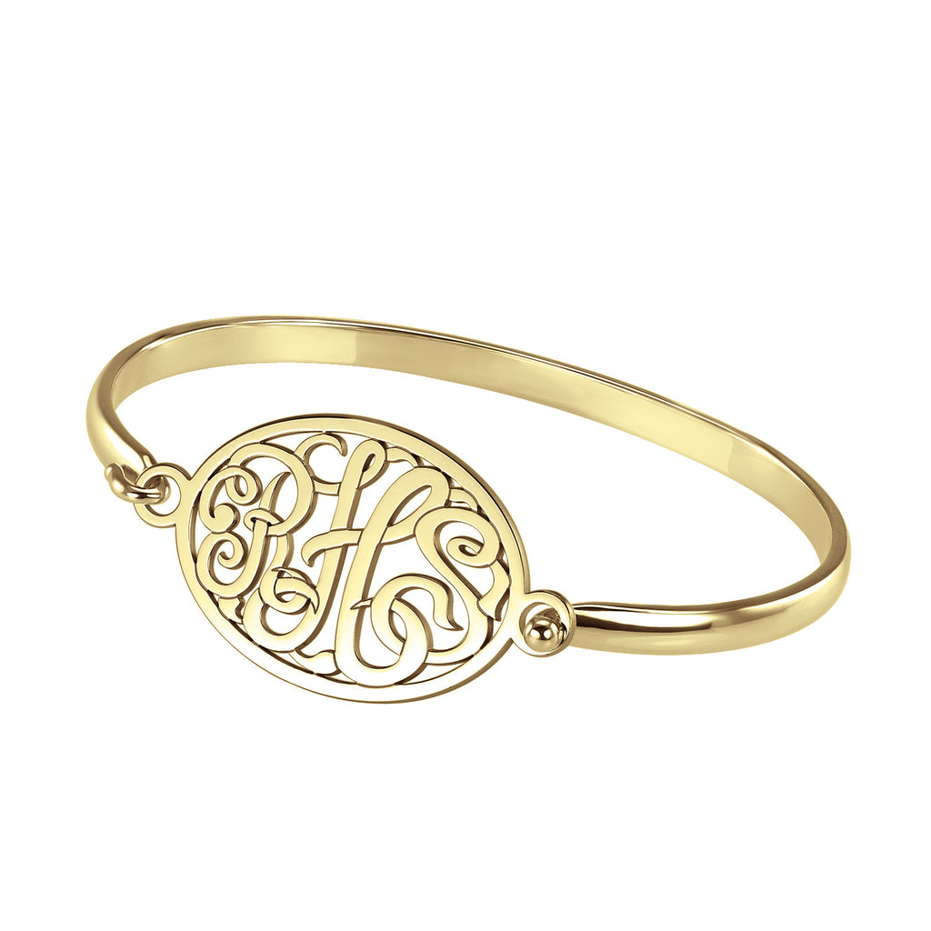 Classic Rimmed Oval Monogram Bangle Bracelet Apparel & Accessories > Jewelry > Bracelets - 1