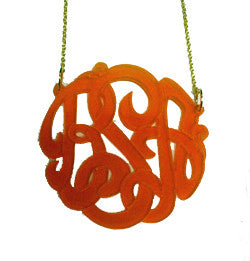 Acrylic Script Monogram Necklace on Split Chain-Purple Mermaid Designs Apparel & Accessories > Jewelry > Necklaces - 3